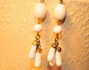 Handmade Vintage Milk White Drop Earrings