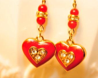 SALE Handmade Vintage Red Heart Rhinestone Earrings