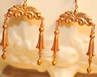 Vintage Brass Victorian Drop Earrings