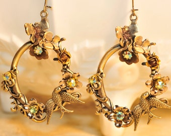 Ornate Vintage Birds and Butterflies Earrings
