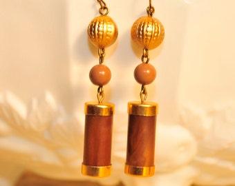 Handmade Vintage Mocha Wood Tube Earrings