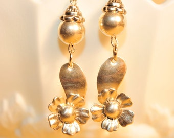 Handmade Vintage Sterling Flower Drop Earrings