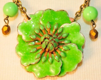 Handmade Vintage Lime Flower Necklace