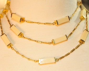 Handmade Vintage Creamy Lucite and Brass Wrap Necklace