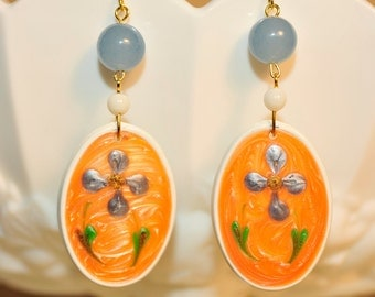 SALE Handmade Vintage Peach and Aqua Blue Flower Drop Earrings