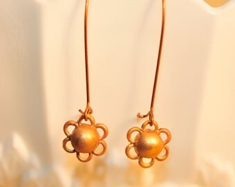 Handmade Vintage Brass Flower Drop Earrings