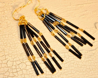 Handmade Vintage Black and Gold Link Earrings