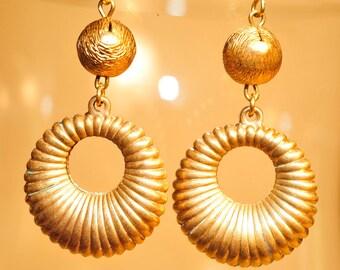 Handmade Vintage Brass Ribbed Hoop Drop Earrings