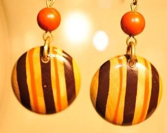 Handmade Vintage Terracotta Wooden Earrings