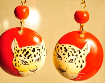 Handmade Vintage Red Wooden Cheetah Earrings