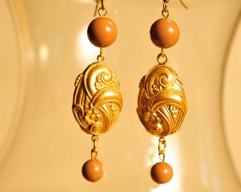 Handmade Vintage Brass and Mocha Earrings