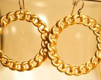 Handmade Vintage Braided Brass Hoop Earrings
