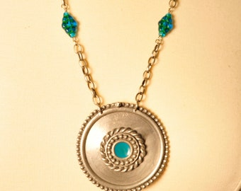 Handmade Vintage Silver and Teal Medallion Necklace