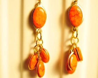 Handmade Vintage Orange and Brass Drop Earrings