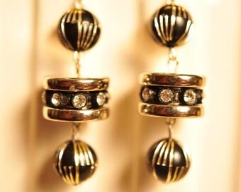 Handmade Vintage Black and Silver Rondelle Rhinestone Earrings
