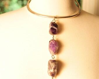 Handmade Vintage Amethyst Nugget Choker Necklace