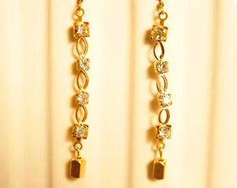 Handmade Vintage Rhinestone Link Earrings