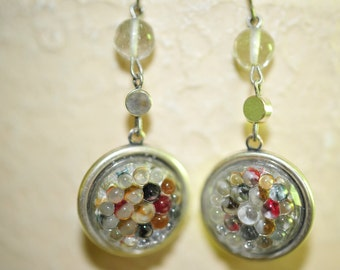 Handmade Vintage Clear Bumpy Cabochon Earrings
