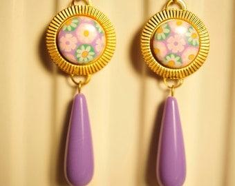 Handmade Vintage Lavender Flower Drop Earrings