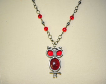 Handmade Vintage Red Glass Owl Necklace