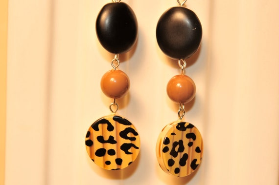 Handmade Vintage Leopard Print Earrings