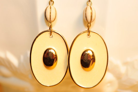 Handmade Vintage Cream and Gold Enamel Earrings