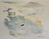Original Watercolor Greek Island Santorini Painting 8 x 10 inches by Robin Pocisk