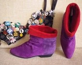 80s Pixie Scrunch Slouch Elf Boots Purple Red Suede 6