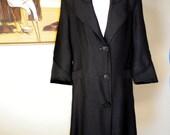 40s 50s Vintage Rockabilly Swing Coat 1950s New Look Black Versatile Spring Coat HUGE COLLAR Bombshell Lightweight S M 1960s