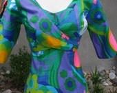 Unique MOD WRAP jacket front maxi dress Hawaiian Tiki style Small vintage 60s 70s