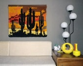RESERVED for ANDY Vintage 70s Shag Rug Wall Hanging Southwest Sunset Cactus Scene Don Quixote Groovy Home Decor Yellow Orange Brown