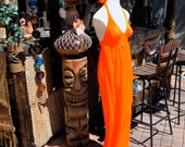 Fluorescent NEON ORANGE Vintage 60s 70s Halter Dress Maxi Length Swimwear Fabric Day Glo Glow Black Light Stunner