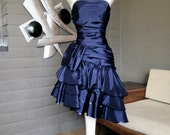 The 80s Prom Dress Vintage Deep Navy Blue Taffeta Sequins Asymmetric Shape Big Bow Bustier Style Strapless Sexy 9 10 Small