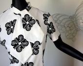 Vintage MOD dress black and white geometric print tie scarf neckline Mid Mini Length Size Large