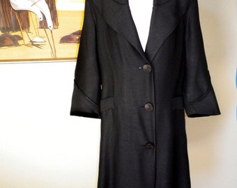 40s 50s Vintage Rockabilly Swing Coat 1950s New Look Black Versatile Spring Coat HUGE COLLAR Bombshell Lightweight S M 1960s