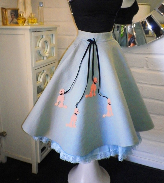 1950s Poodle Skirt Circle Rockabilly Wool Felt 50s Sock Hop Happy Days Vintage 50s Party Halloween Costume Contest Winner Size Small