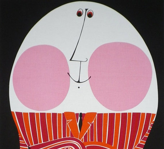 Vintage 70s Mod Fabric Marimekko Style Wall Hanging Humpty