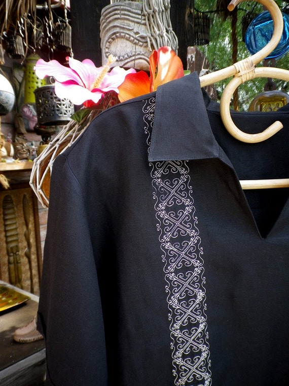 Black Linen Rayon Shirt Pull Over Guayabera White Stitching Mens Mexican Wedding Shirt Fiesta Tiki Style MINT LARGE