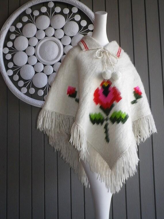 Vintage 1970s 1960s Hippie Poncho Cape Coat Jacket Roses Fringe Pompoms Wool Blanket NOS White Hot Pink Red Flower One Size