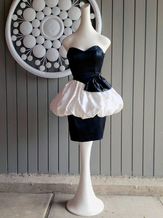The 80s PROM Dresses 1980s Black White Pouf Peplum Bustier Satin Dress XS Designer Zum Zum Vintage