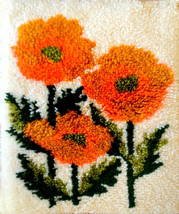 Vintage 60s 70s Shag Rug Wall Hanging Hand Hooked By