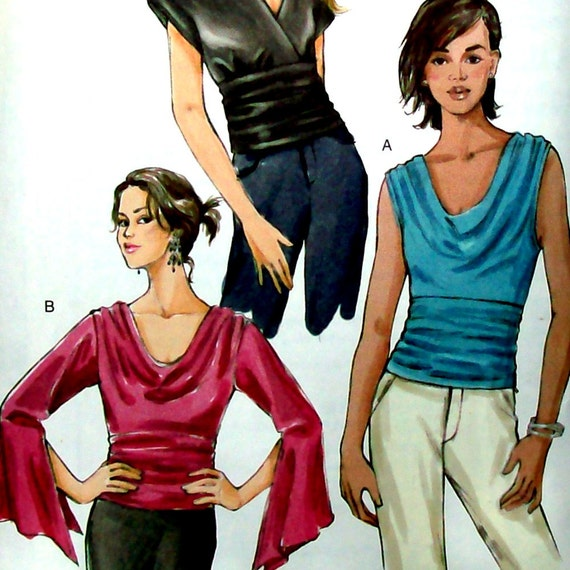 Vogue Sewing Pattern - Tops Blouses with Drape and Gathers, Vogue 8034 - Size 6, 8, 10