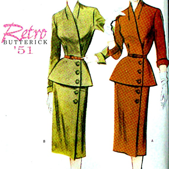 50s Sewing Pattern - 1950s Suit Jacket Slim Skirt - Retro Butterick 6241 UNCUT Bust 36, 38, 40 Plus Size
