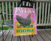 Upcycled Pink Chicken Feed Bag - Reusable Market Tote - Gift Bag - Purse