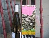 Wine Bag - Upcycled Chicken Feed Sack -  Gift Bag