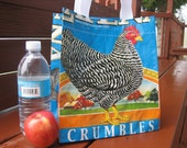Lunch Tote - Recycled Chicken Feed Bag - Small Purse, Closeable