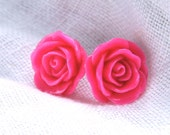 Bright Pink Rosebud Earrings