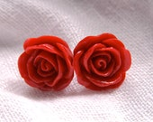 Scarlet Red Rosebud Earrings