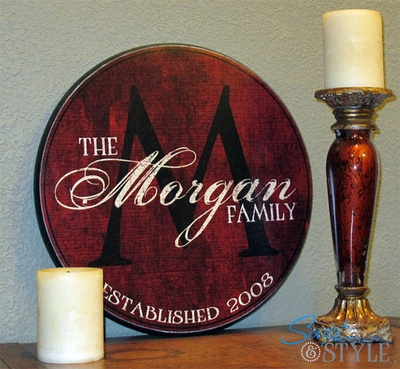 """Personalized Family Name Sign, Last Name Sign, Wall Art with Established Date & Monogram, 18"""""""