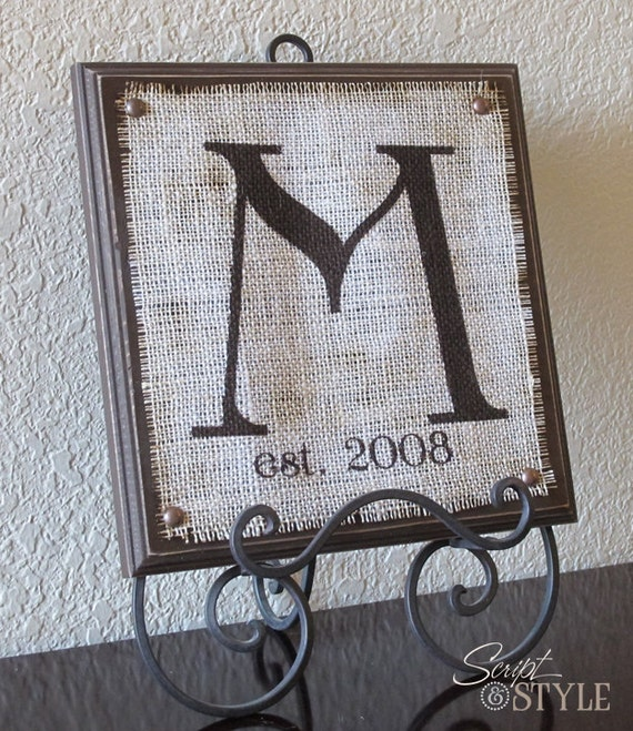 "Personalized Monogram Family Name Sign, Initial Sign, Wall Art, 11"" x 11"""